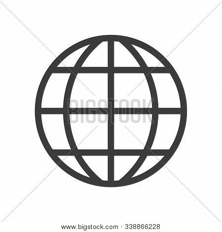 Earth Globe Vector Icon Symbol Isolated On White Background. Linear Style Icon. Flat Design Element.