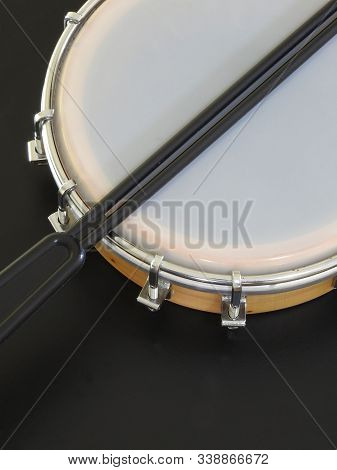 Tamborim With Drumstick: A Brazilian Percussion Musical Instrument. It Is Used To Play Samba, The Fa