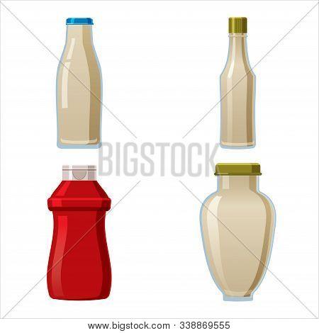 Bottles Sauce Set. Wasabi Ketchup Mayonnaise Creamy Sauces. Food Template, Mock Up Plastic Packaging