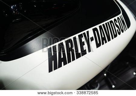 Bangkok, Thailand - Decemeber 11, 2019 : Harley-davidson  Logo On The Body Of Sports Motorbike. Harl