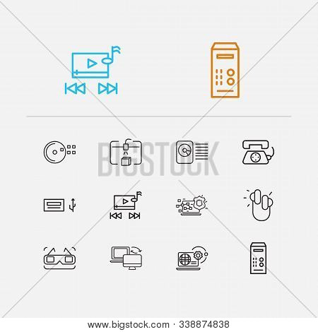 Electronics Icons Set. Cd Disk And Electronics Icons With Music Player, Steamroller And Earphones. S