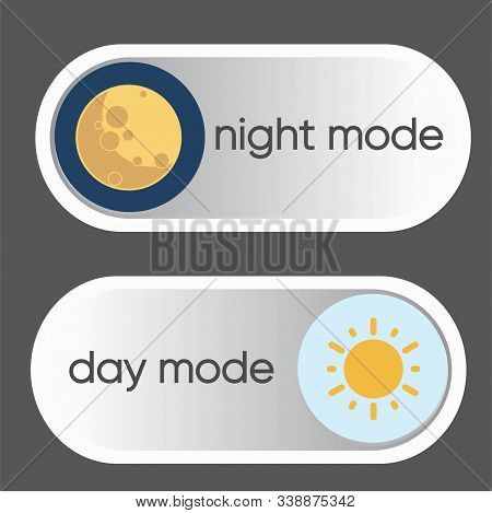 Concept Of Gadget Interface Switch To Day And Night Mode And Ui Symbol. Day And Night Mode. Vector O