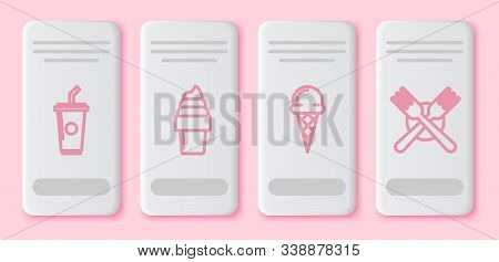 Set Line Paper Glass With Drinking Straw And Water, Ice Cream In Waffle Cone, Ice Cream In Waffle Co