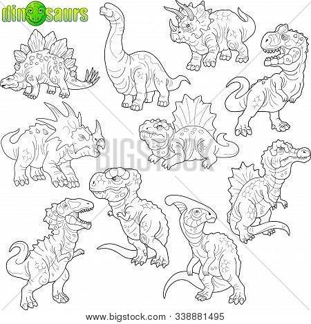 Set Of Cartoon Prehistoric Dinosaurs, Coloring Book, Funny Illustration