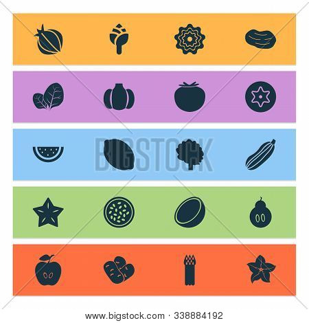 Vegetable Icons Set With Gourd, Beans, Dad And Other Carambola Elements. Isolated Vector Illustratio