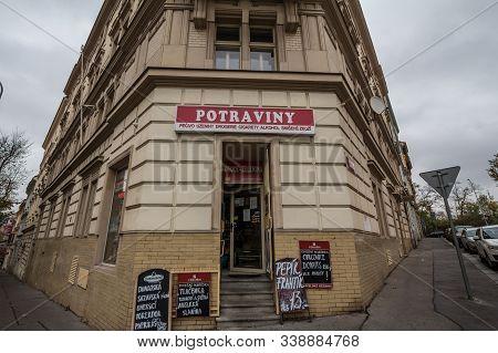 Prague, Czechia - November 3, 2019: Czech Convenience Store In The City Center Of Prague. Also Calle