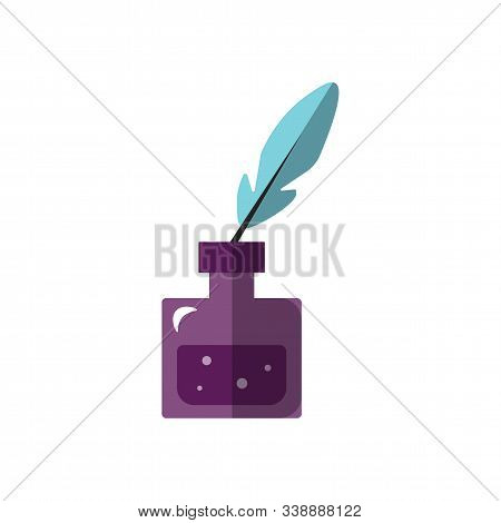 Vector Flat Ilustration Of Ink Jar With Goose Feather For Writing. Ancient Ink Feather Pen, Ink Bott