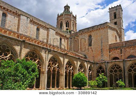 view of the cloister of Monastery of Santa Maria de Santes Creus, Spain