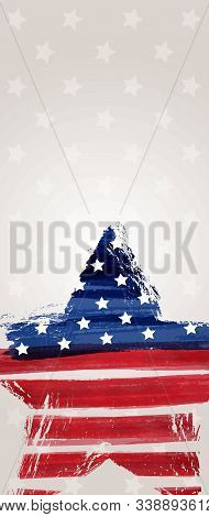 Banner With Usa Flag In Grunge Star Shape