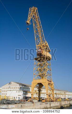 Naval Crane Of The Dockyards Of The Port Of Cadiz