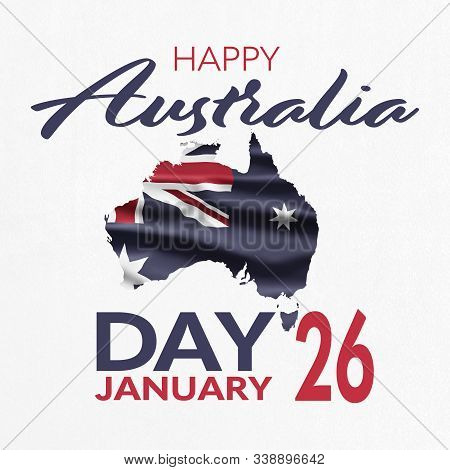 Australia National Day. Australian Flag With Stripes And National Colors. Happy Australia Day. Janua