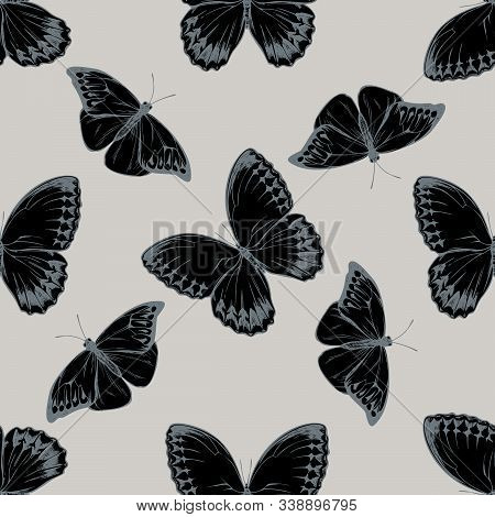 Seamless Pattern With Hand Drawn Stylized Hebomoia Glaucippe, Stichophthalma Howqua Stock Illustrati
