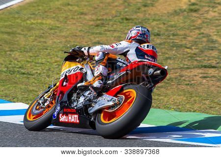 Jerez De La Frontera, Spain - Mar 23: Motogp Motorcyclist Dani Pedrosa Takes A Curve In The Motogp O
