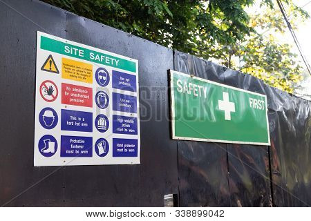 Construction Site Safety Signage At Site Entrance