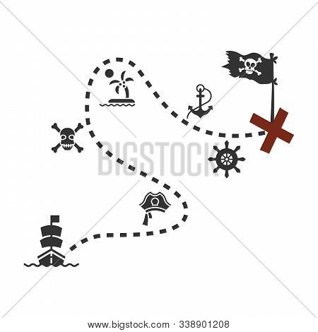 Old Treasure Map For Pirate Adventures. Island With Old Chest. Vector Illustration. Pirate Map Treas