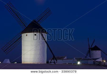 windmills at night, Campo de Criptana, Castile-La Mancha, Spain