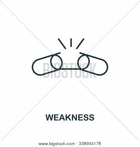 Weakness Icon. Line Style Element From Business Strategy Collection. Thin Weakness Icon For Web Desi