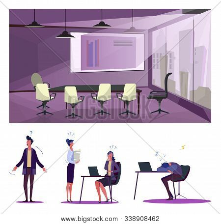 Failure At Work Flat Vector Illustration Set. Office Employee Sleeping At Workplace, Having Many Que