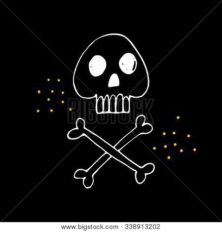Halloween Doodle Spooky Skulls And Bones. Fun Hand Drawn Icon Elements For Halloween Decorations And