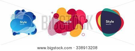 Set Of Abstract Colorful Wavy Modern Graphic Shapes. Dynamical Forms, Flowing Liquid Shapes, Wavy Li