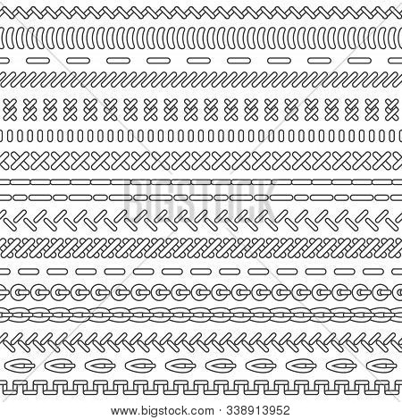 Set Of Colored Stiches . Vector Seamless Rows