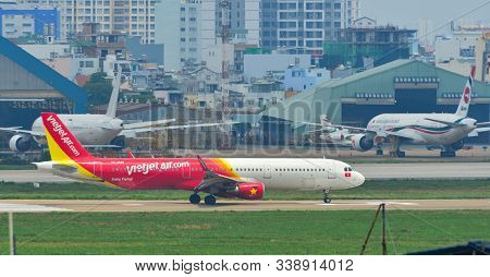 Passenger Airplane At Tan Son Nhat Airport