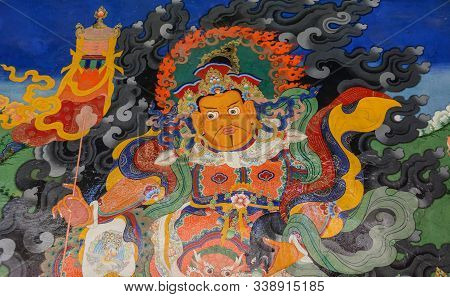 Ladakh, India - Jul 16, 2015. Mural Paintings In The Buddhist Stakna Gompa Monastery Temple In Ladak