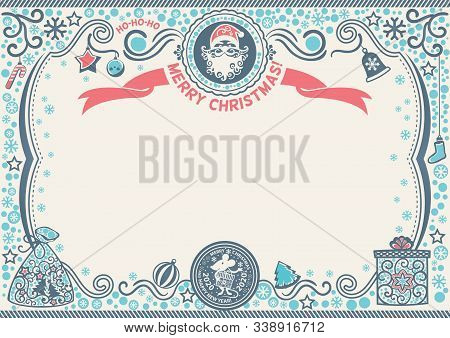 Christmas Certificate With Santa And Rat. Symbol Of 2020. H-ho-ho Merry Christmas
