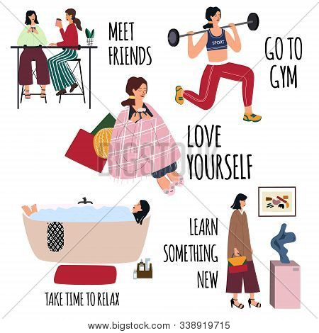 Love Yourself Vector Set. Happy Lifestyle Poster. Motivation For Women To Take Time For Yourself: Me