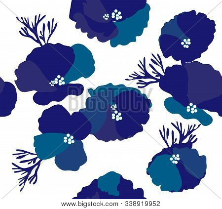 Vector Illustration Of Seamless Blue Flowers Background.