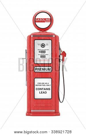 Red Retro Gas Pump On A White Background. 3d Rendering