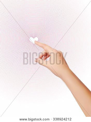 Forefinger Is Pressing 2d Heart. Womans Wrist Closeup. Silhouette Of Female Hand. Finger Pushing Any