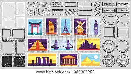 Traveler Mail Post Stamp. City Attractions Postcard, Fragile Stamp And Postage Frames. Postal Letter