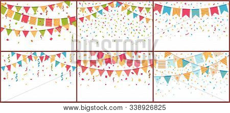 Birthday Party Bunting And Confetti. Color Paper Streamers, Confettis Explosion And Buntings Flags.