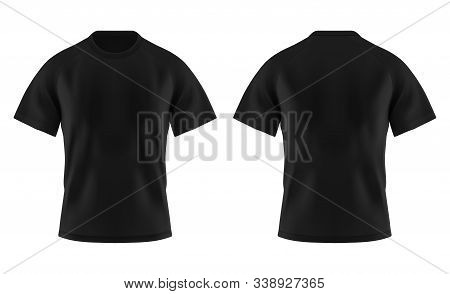Front And Back Of Blank T-shirt For Man Or Empty Tshirt Template For Men. Realistic Or 3d Unisex T S