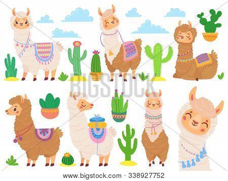 Cartoon Mexican Alpaca. Funny Llamas, Cartoon Cute Animal And Llama With Desert Cactus. Sweet Alpaca
