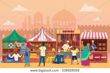 Street Market Flat Vector Illustration. Local Indian Outdoor Marketplace. Traditional Retailing. Joy