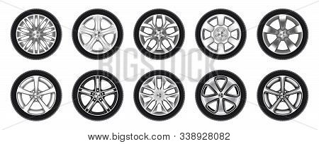 Set Of Isolated Rubber Tyre Or Car Tire, Truck Wheel With Metal Star Rim, Lorry Disk Icon Or Bus Whe
