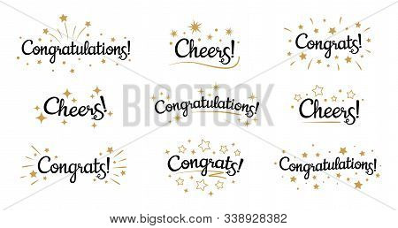 Congrats Lettering. Congratulation Text Labels, Cheers Sign Decorated With Golden Burst And Stars An