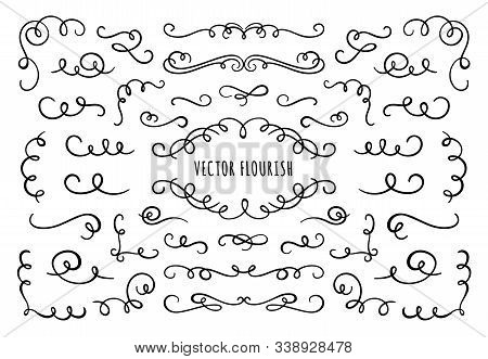 Flourish Frame, Corners And Dividers. Decorative Flourishes Corner, Calligraphic Divider And Ornate