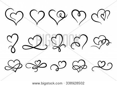 Love Hearts Flourish. Heart Shape Flourishes, Ornate Hand Drawn Romantic Hearts And Valentines Day S