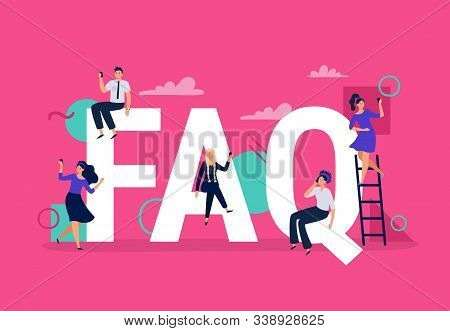 Faq. Frequently Asked Questions, People With Smartphones Ask Question And Find Answers. Questions He