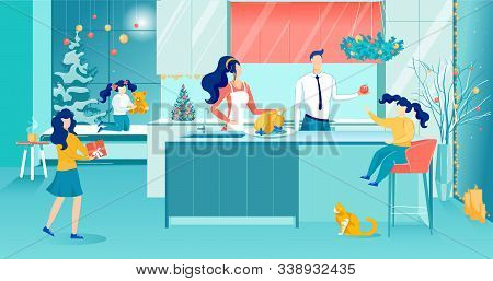 Mother Cooking Festive Dinner. Happy Family On Kitchen. Father Treating Daughter With Apple. Two Gir