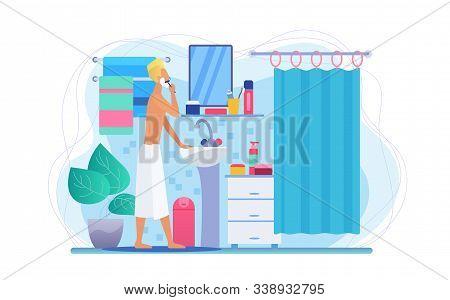 Man In Bathroom Flat Vector Illustration. Faceless Male Character Shaving. Morning Face Skincare Rou