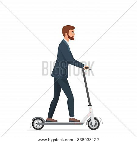 Man On Electric Scooter Flat Vector Illustration. Male Ccartoon Character Riding Ecologically Clean