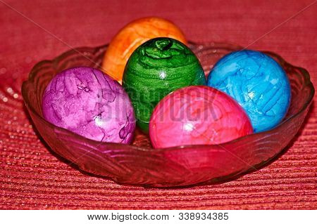 Different Colorful Easter Eggs, Happy Holiday, Chicken Egg, Traditional Christian Eastertime Painted