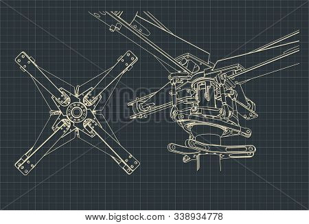 Stylized Vector Illustration Of Main Helicopter Rotor Drawings