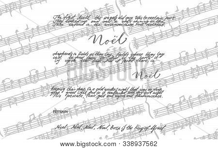 Christmas Song Noel Holidey Background Illustrations. Greeting Card Invitation With Xmas Song. Vinta