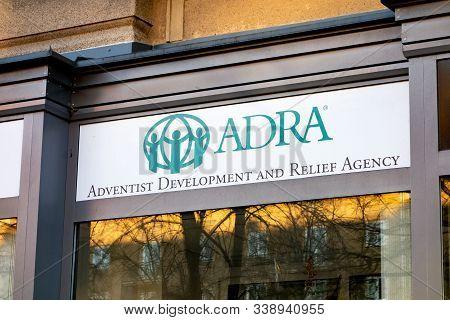Ostrava Czechia - December 11, 2019: The Adra (adventist Development And Relief Agency) Charity Shop