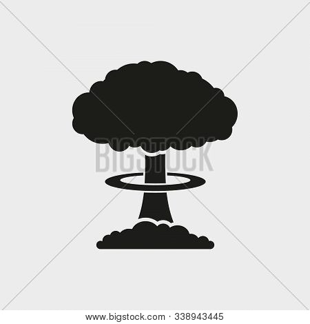 Mushroom Cloud, Nuclear Explosion, Silhouette. Flat Vector Web Icon. Isolated.